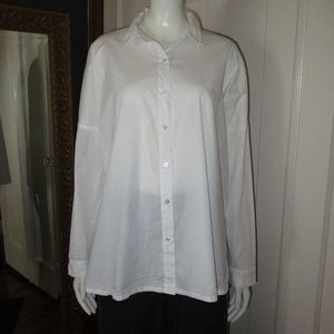 Eileen Fisher White Cotton front button Shirt Sm P